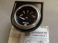 Stewart Warner 82305 2-1/16 Elec Oil Pressure Gauge 0-100 PSI with Sender & Box