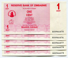 Zimbabwe 1 Cent Bearer Cheque x 5psc AA 2006 P33 consecutive UNC currency bills