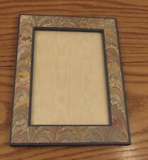 "Vintage Tiffany and Co marbled paper photo frame up to 5.5""x7.5"" England easel"
