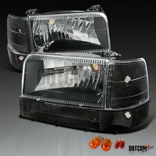 92-96 F150/250/350 Bronco Blackc Clear Headlights Bumper Corner Signal Lamps