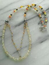 Citrine LABRADORITE Carnelian Necklace Sterling SILVER Gemstone Beaded Sundance