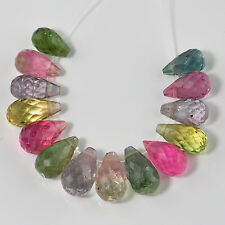 Afghani Tourmaline Faceted Full Teardrop Beads (14)