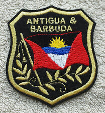 ANTIGUA & BARBUDA FLAG IN SHIELD PATCH Embroidered Badge 7cm x 8cm Americas NEW