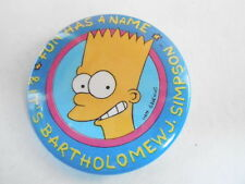 VINTAGE PINBACK BUTTON #69- 037 - CARTOON - THE SIMPSONS - BART - FUN HAS A NAME