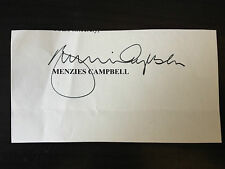 MENZIES CAMPBELL - LIBERAL DEMOCRAT POLITICIAN - SIGNED PORTION OF LETTER