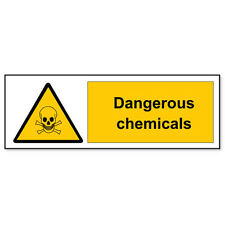 "Dangerous Chemicals Warning sign sticker decal 2"" x 6"""