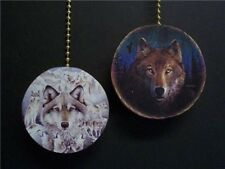 (2) NATIVE AMERICAN WOLF CEILING FAN PULL PULLS