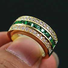 Size 6.5 Green Emerald CZ Engagement Ring 10KT Yellow Gold Filled Wedding Band