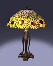 """Tiffany Style Stained Glass Yellow Sunflower Table Lamp 19"""" Shade Handcrafted"""