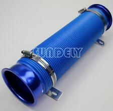 "3"" Cold Air Intake Feed Flexible Duct Pipe Induction Kit Filter In Pure Blue"
