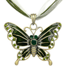 Butterfly Pendant Necklace Charm Austrian Crystal Peridot Jewelry Retro Brass T