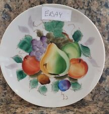 Lovely vTg DECORATIVE PLATE marked Hand Painted FRUIT w/wall hanger