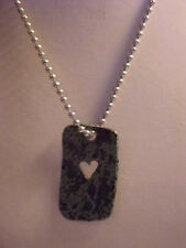 """Dog Tag Heart Pendant Necklace Green and Black Enamel Silver Ball Chain 16"""""""