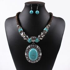 Chunky Choker Collar Women Tibetan Turquoise Bead Pendant Necklace Earrings Set