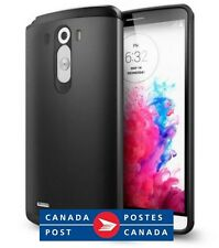 LG G3 Case Dual Layer Slim Armor Heavy Duty Black Metal Cover + Bonus Screen