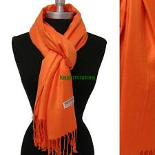 NEW Women Soft PASHMINA Cashmere SILK Classic Solid Shawl Scarf Wrap Orange#P202