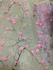 3d floral embroidery/mesh lace/leaves/organza/fabric/pink