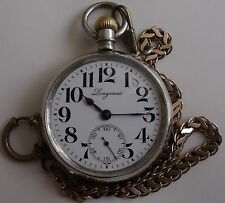 VERY RARE -LONGINES, LARGE MODEL + GOLD PLATED KYUSTEK- SWISS -POCKET WATCH