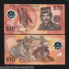 BRUNEI 10 RINGGIT 1998 *POLYMER*SINGAPORE UNC CURRENCY ASEAN MONEY NOTE FreeShip