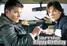 SUPERNATURAL Sam & Dean Personalised Birthday CAR Card !! Chevrolet Impala Sedan