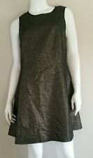 MADE Fashion Week for IMPULSE Black Gold Cut Out Back Tweed Dress sz L NWT