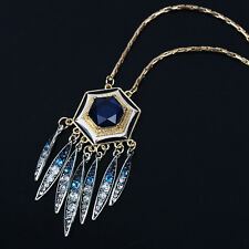 Charms Lady Rhinestone Feather Tassel Pendant Necklace Long Snake Chain Jewelry