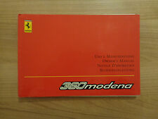 Ferrari 360 Modena Owners Handbook/Manual