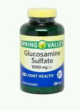 2x Spring Valley Glucosamine Sulfate Dietary Supplement Tablets, 1000mg, 200 ct