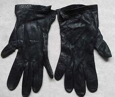 Vintage femme en cuir de conduite gants années 1960 années 1970 rétro bleu marine taille 7.5 large