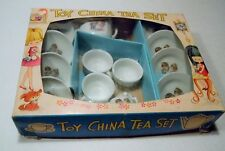 Vintage Porcelain Toy China Tea Set Boy Giving Girl Flowers Japan - 16 pieces