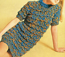 """1960s Knitting Pattern: CHUNKY KNIT MINI DRESS for 32-38""""/Womens Clothes Pattern"""