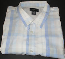 NWT MEN CALVIN KLEIN SIZE XL BLUE-WHITE PLAID SS SHIRT