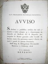 V638-LOMB.VENETO-MONTE DELLE CAVALLE A BOZZOLO 1818