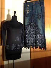 Couture Embellished Denim Skirt With Beautiful Top Size L  Amanda Adams Couture