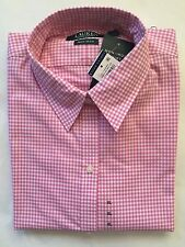 NEW  Women's Ralph Lauren LS Button down Collor dress shirt White Pink -Xsmall