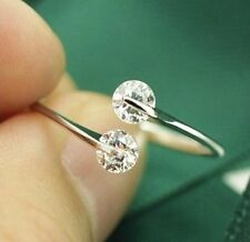 Duo Of Lab Made Diamonds Tension Setting Platinum Plated Ring Adjustable Fit