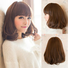 Light Brown Womens Lady Medium Long Curly Wavy Hair Full Wigs Cosplay Party