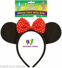 MINNIE MOUSE EARS & BOW HEN NIGHT WOMEN GIRL MICKEY PARTY FANCY DRESS HEADBAND