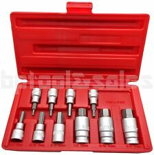 "10pc 3/8"" & 1/2"" Drive Hex Key Allen Head (SAE) Socket Bit Set Heavy Duty"