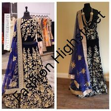 UK -Indian Pakistani Bollywood designer Bridal Navy Blue Lengha, Chanya Choli.