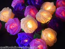 UK STOCK Mixed Purple Rose LED BATTERY Flower Roses Fairy Light - Premium Post