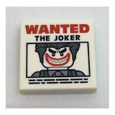 LEGO - Tile 2 x 2 with 'WANTED THE JOKER' Poster Pattern - White