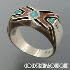 VINTAGE NAVAJO SIGNED STERLING SILVER CRUSHED TURQUOISE CORAL MEN'S RING (8.75)