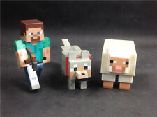 3x MINECRAFT Overworld Wolf Steve Sheep loose hot item TM