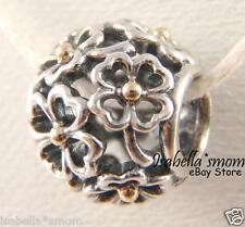 EVENING FLORAL Authentic PANDORA Silver/14K GOLD Flower CLOVER Charm/Bead NEW