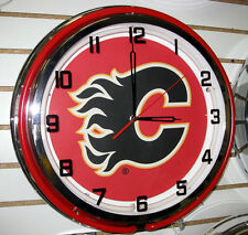 Calgary Flames Sign Large Neon Clock