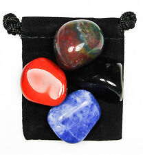 ANXIETY TAMER Tumbled Crystal Healing Set = 4 Stones + Pouch + Description Card