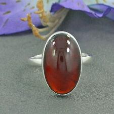 Hessonite Garnet 925 Sterling Silver Birthstone Gift Ring Size 10.5, Resizable