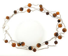 Ralph Lauren Necklace Brown Bead Silver Tone Triple Strand