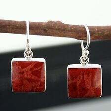 Sweet 925 Sterling Silver Red Sponge Coral Square Earrings